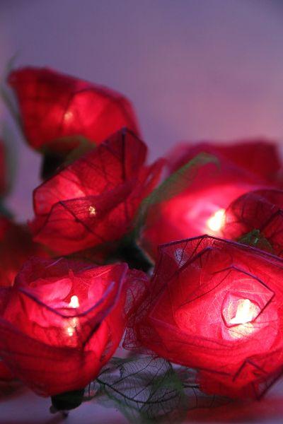 Lichterkette Stoffblüten Bordeaux