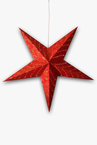 Leuchtstern Rot Glitzer Paisley