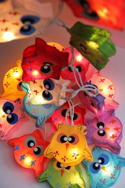 Lichterkette Lampion-Eulen