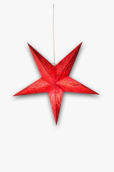 Leuchtstern Rot Silber Stickerei