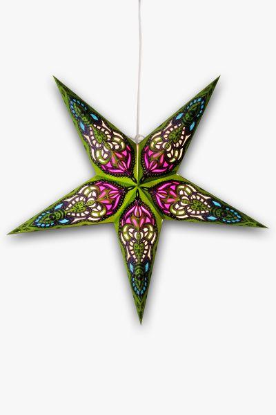 Leuchtstern Grün Lila Glitzer