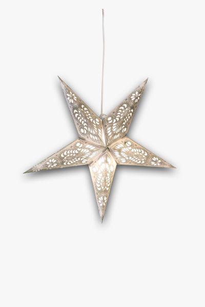 Leuchtstern Weiß Silber Glitzer