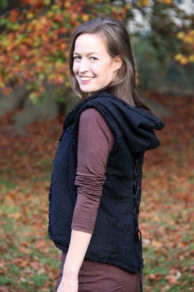 Damen Fleece Weste mit Kapuze, Spitze, Messinghaken