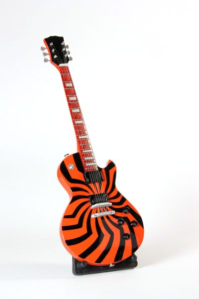 Miniaturgitarre Orange Schwarz