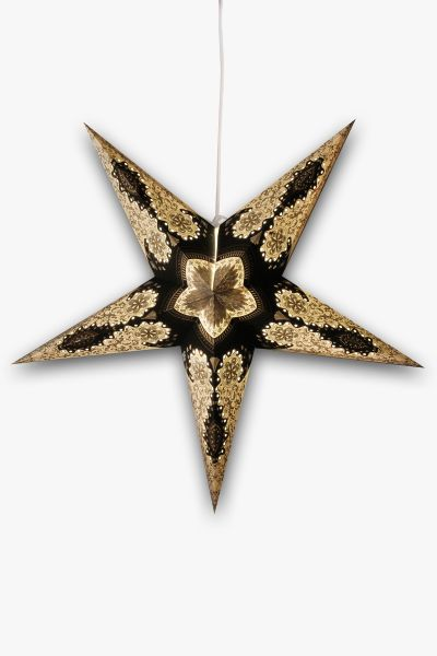 Leuchtstern Schwarz Gold Silber