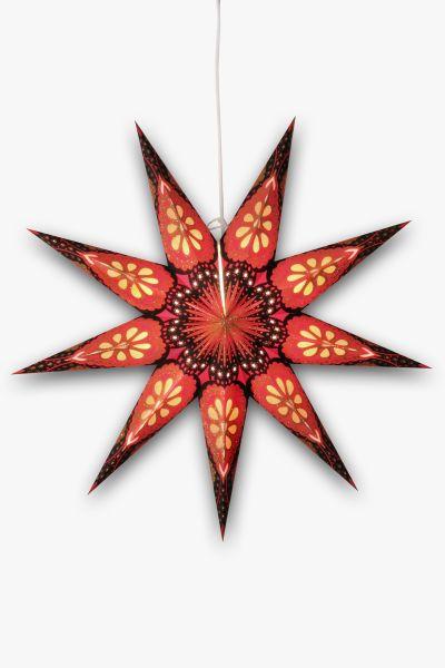 Leuchtstern Rot Schwarz Glitzer