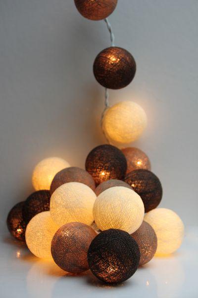 Lichterkette Stoffbälle Braun