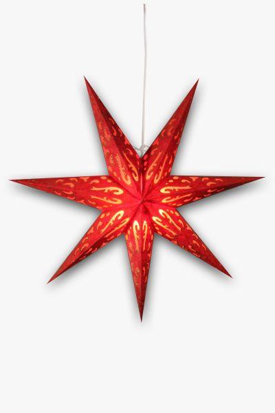 Leuchtstern Rot Gold Glitzer
